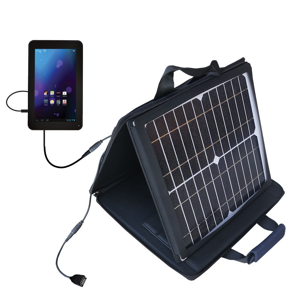 SunVolt Solar Charger compatible with the RCA RCT6077W2 / RCT6077W22 and one other device - charge from sun at wall outlet-like speed