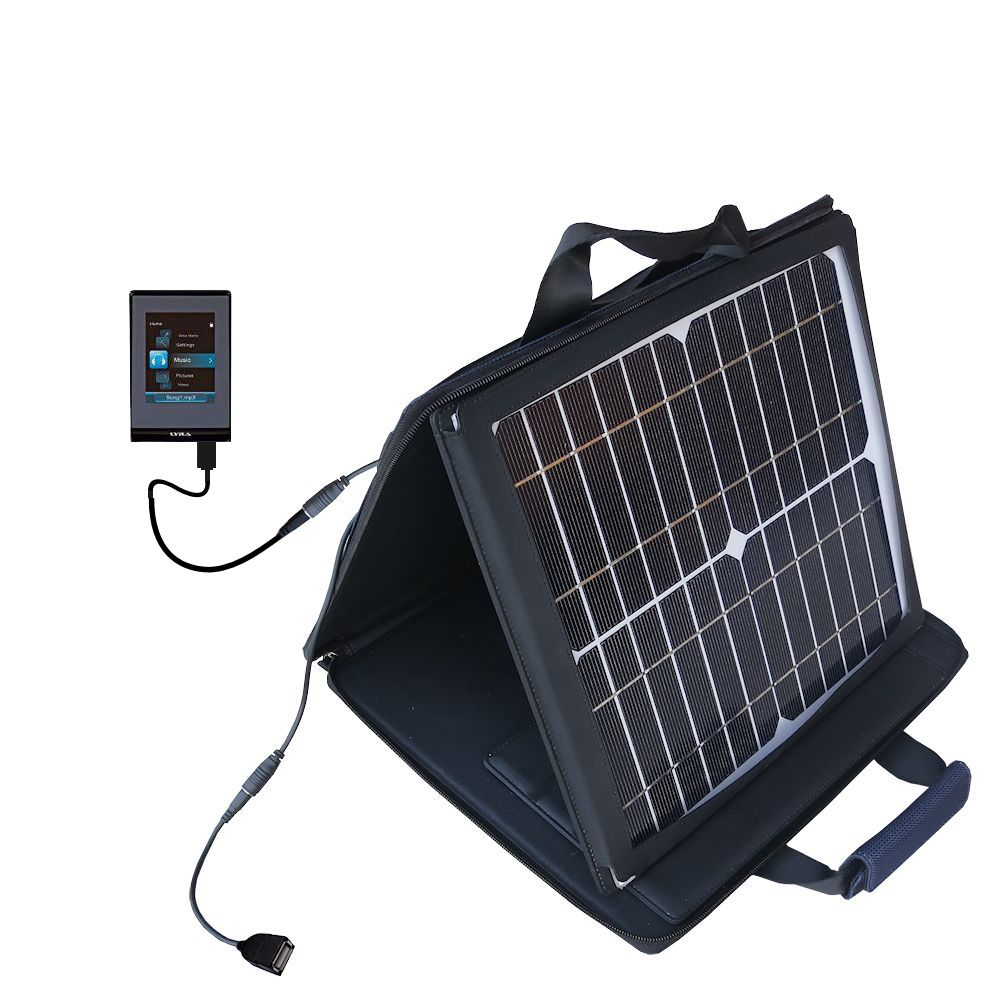 SunVolt Solar Charger compatible with the RCA SL5004 SL5008 SL5016 LYRA Slider and one other device - charge from sun at wall outlet-like speed