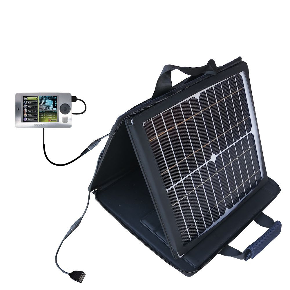 SunVolt Solar Charger compatible with the RCA X3000 LYRA Media Player and one other device - charge from sun at wall outlet-like speed