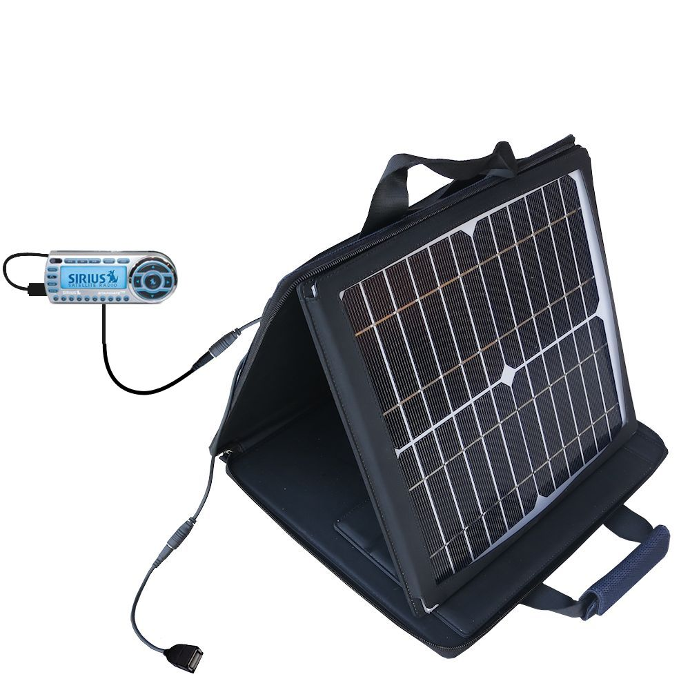 SunVolt Solar Charger compatible with the Sirius StarMate ST2 and one other device - charge from sun at wall outlet-like speed