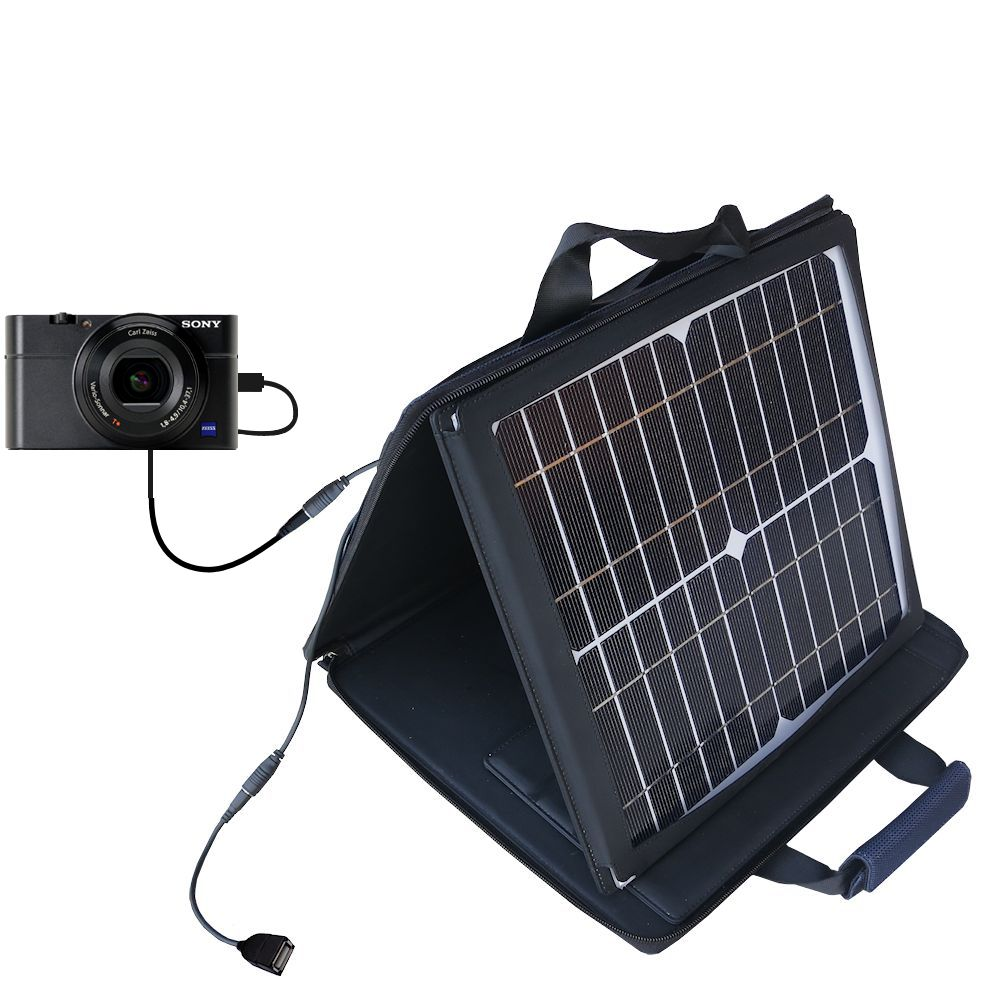 SunVolt Solar Charger compatible with the Sony Cybershot DSC-RX100 and one other device - charge from sun at wall outlet-like speed