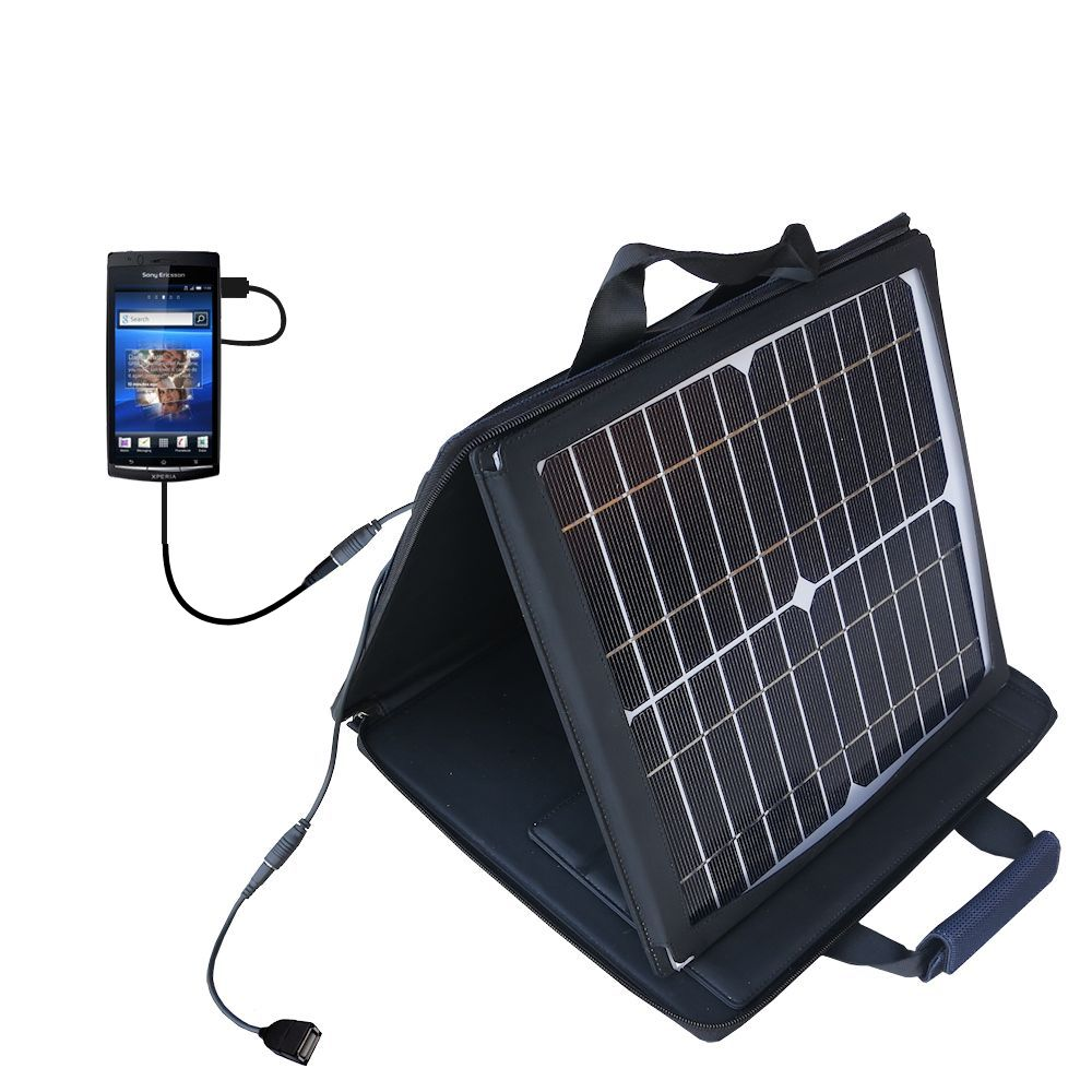 SunVolt Solar Charger compatible with the Sony Ericsson LT15i and one other device - charge from sun at wall outlet-like speed