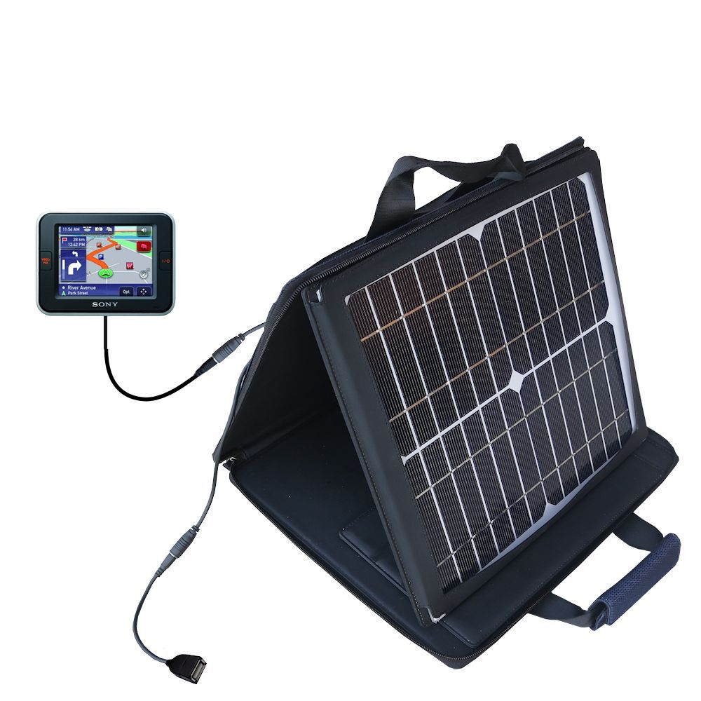 SunVolt Solar Charger compatible with the Sony Nav-U NV-U52 and one other device - charge from sun at wall outlet-like speed