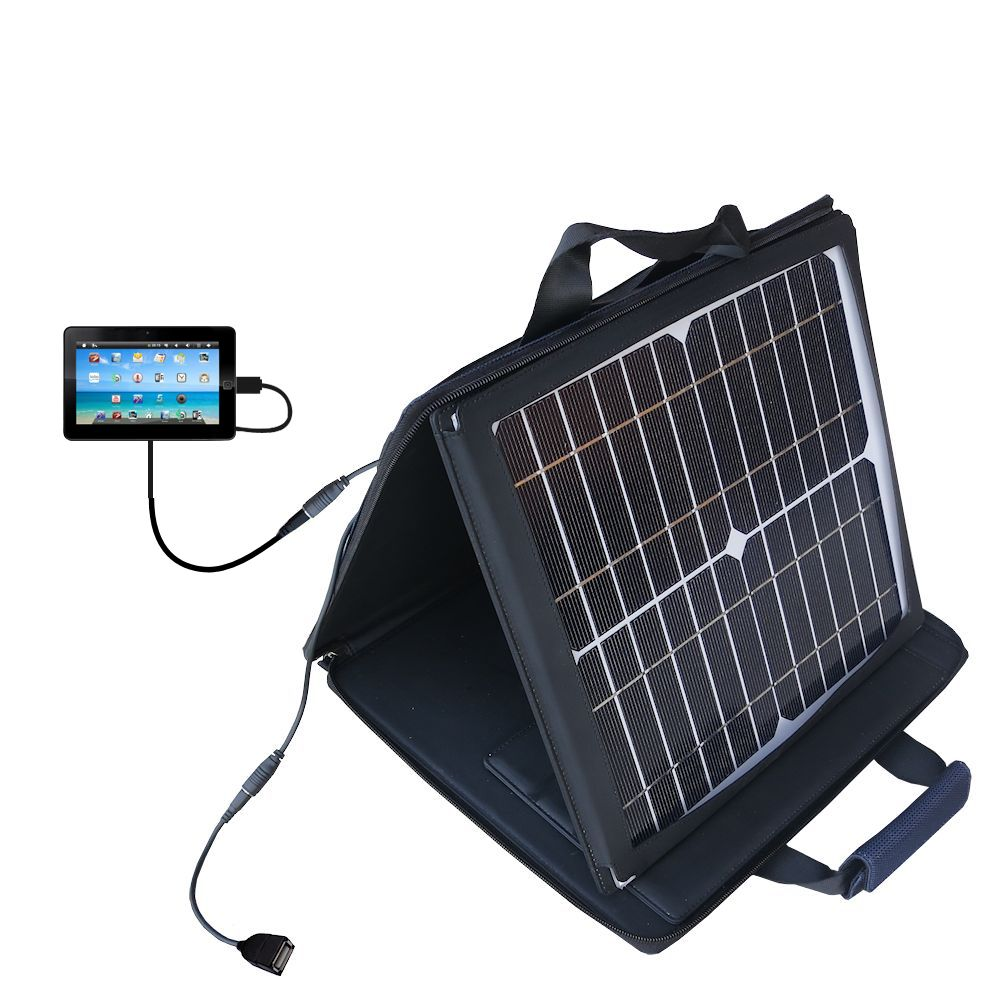 SunVolt Solar Charger compatible with the Sylvania SYTAB10ST 10 inch Magni Tablet and one other device - charge from sun at wall outlet-like speed