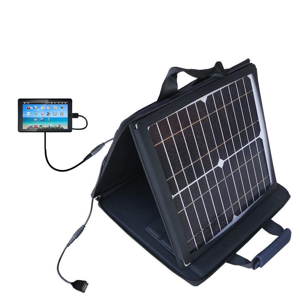 SunVolt Solar Charger compatible with the Sylvania SYTAB7MX 7 inch Tablet and one other device - charge from sun at wall outlet-like speed