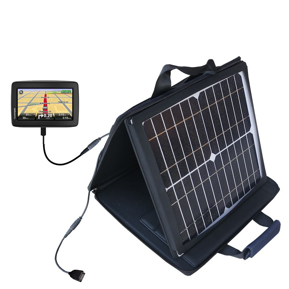 SunVolt Solar Charger compatible with the TomTom VIA 1500 and one other device - charge from sun at wall outlet-like speed