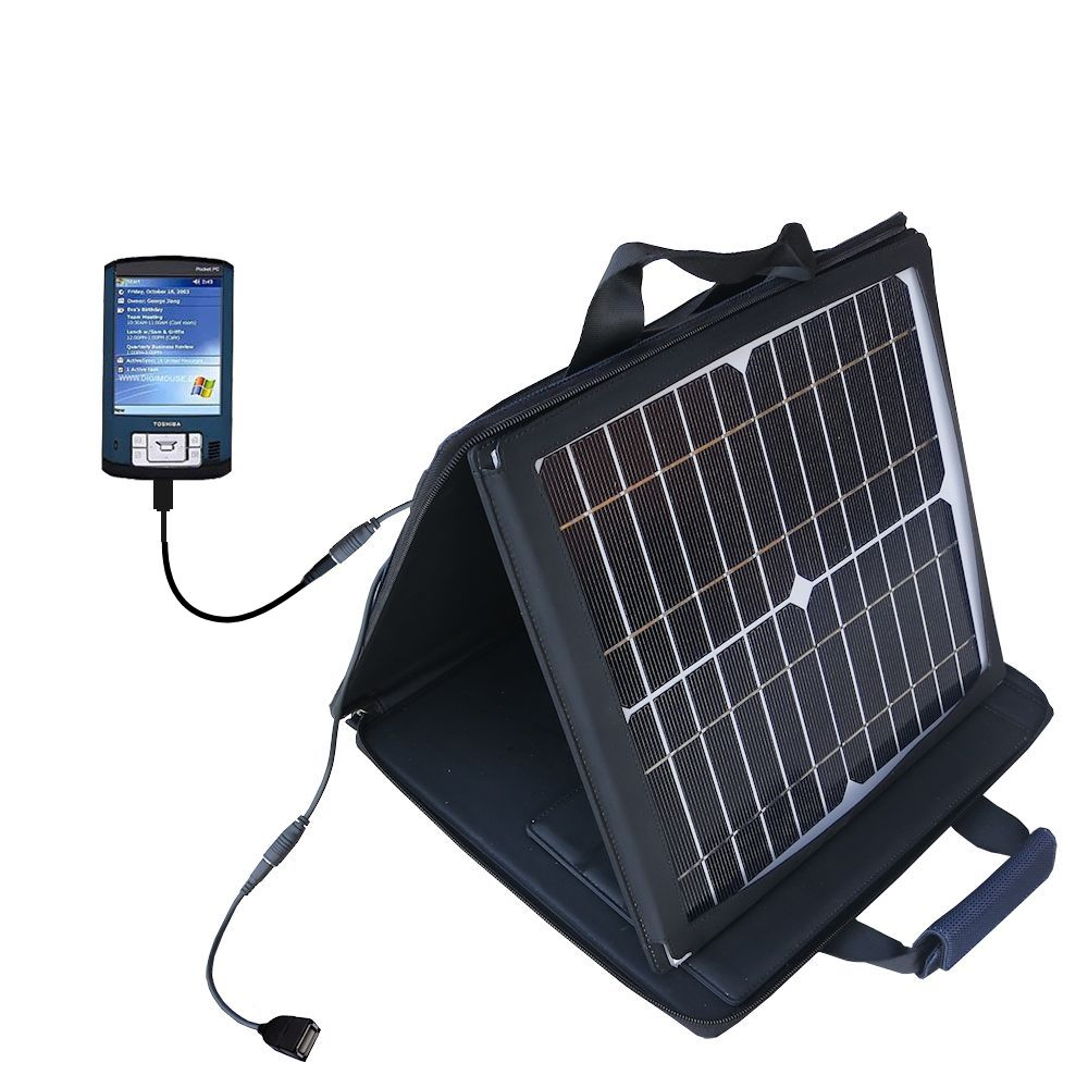 SunVolt Solar Charger compatible with the Toshiba e805 and one other device - charge from sun at wall outlet-like speed