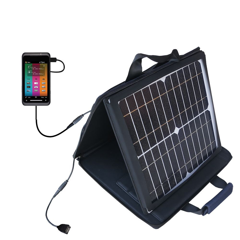 SunVolt Solar Charger compatible with the Toshiba TG01 and one other device - charge from sun at wall outlet-like speed
