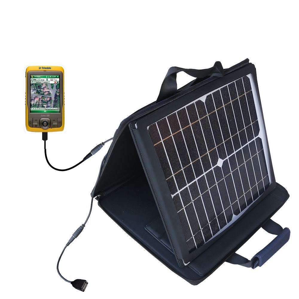 SunVolt Solar Charger compatible with the Trimble Juno SB and one other device - charge from sun at wall outlet-like speed