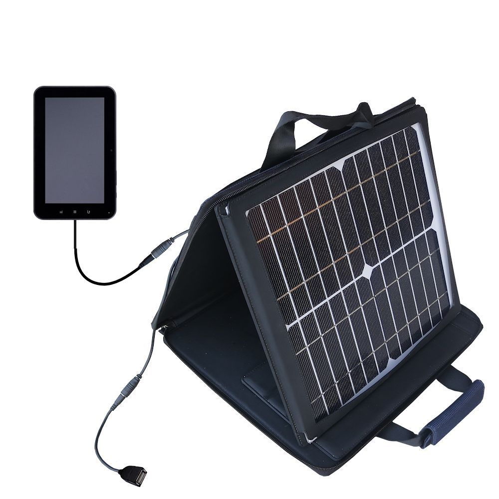 SunVolt Solar Charger compatible with the Tursion ZTPAD C71 and one other device - charge from sun at wall outlet-like speed