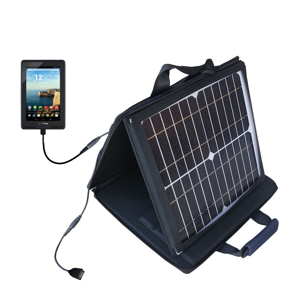 SunVolt Solar Charger compatible with the Verizon Ellipsis 7 and one other device - charge from sun at wall outlet-like speed