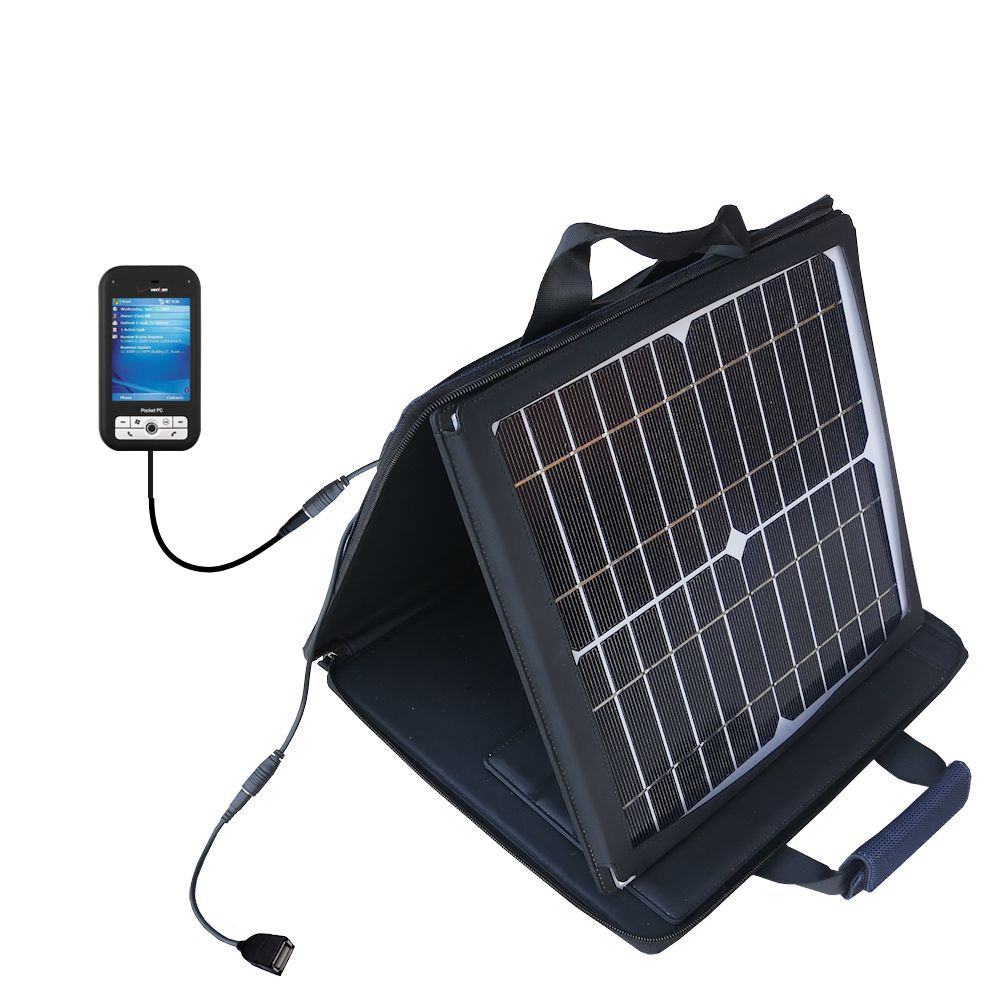 SunVolt Solar Charger compatible with the Verizon XV6700 XV6800 and one other device - charge from sun at wall outlet-like speed