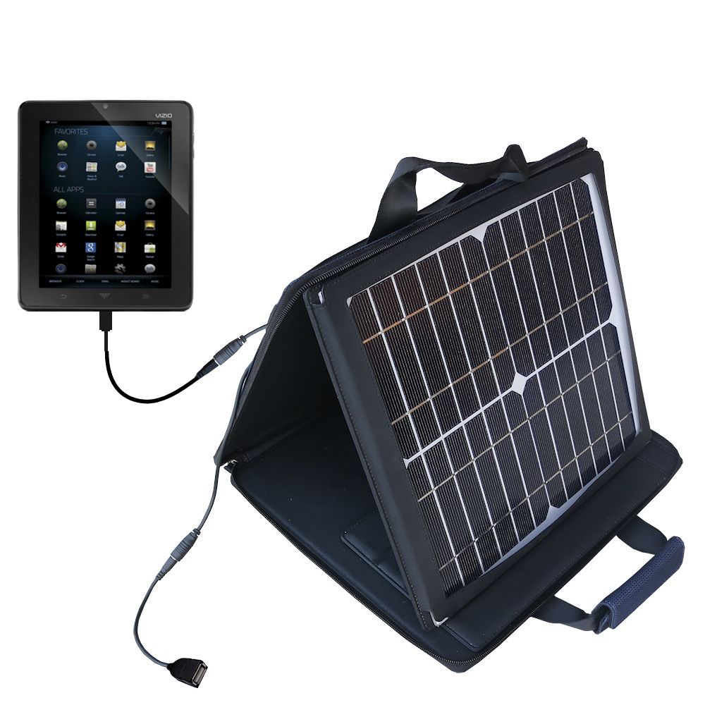SunVolt Solar Charger compatible with the Vizio Vizio 8 (VTAB1008) and one other device - charge from sun at wall outlet-like speed