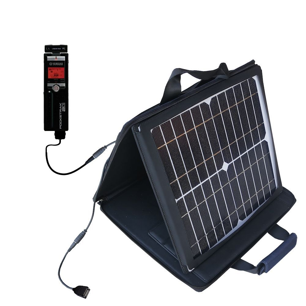 SunVolt Solar Charger compatible with the Yamaha Pocketrak 2G and one other device - charge from sun at wall outlet-like speed