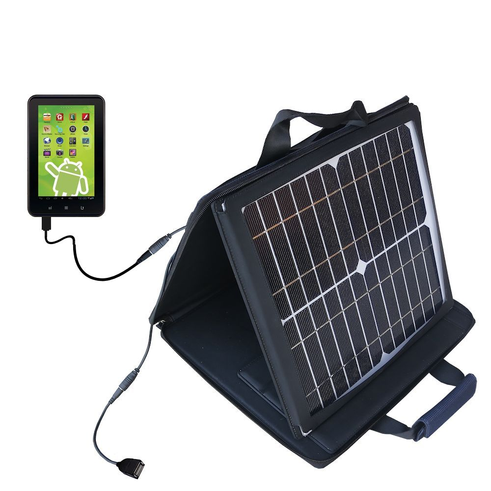 SunVolt Solar Charger compatible with the Zeki 7 Tablet TB782B and one other device - charge from sun at wall outlet-like speed
