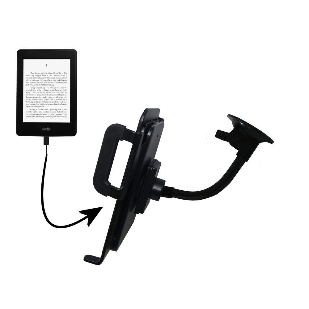 Unique Suction Cup Mount / Holder Stand designed for the Amazon Kindle Paperwhite Tablet