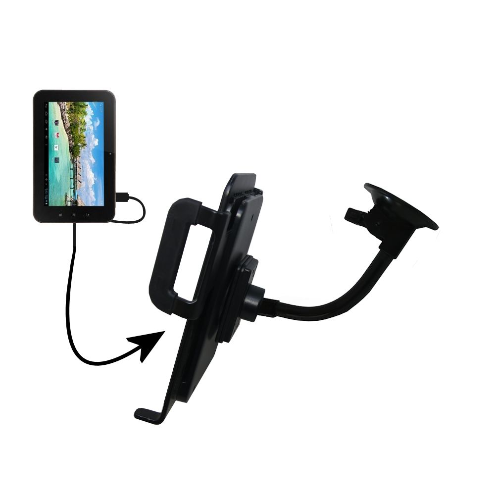 Unique Suction Cup Mount / Holder Stand designed for the Android Allwinner A13 Tablet