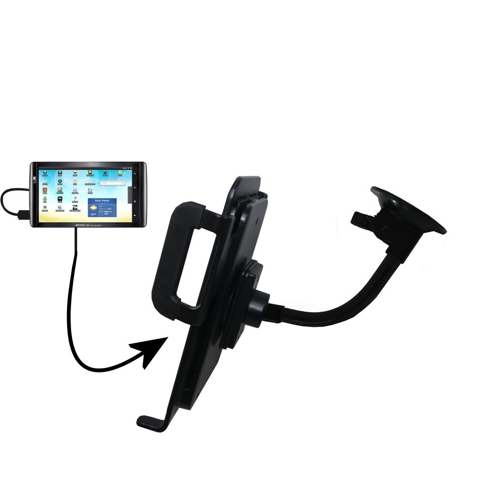 Unique Suction Cup Mount / Holder Stand designed for the Archos 101 Internet Tablet Tablet