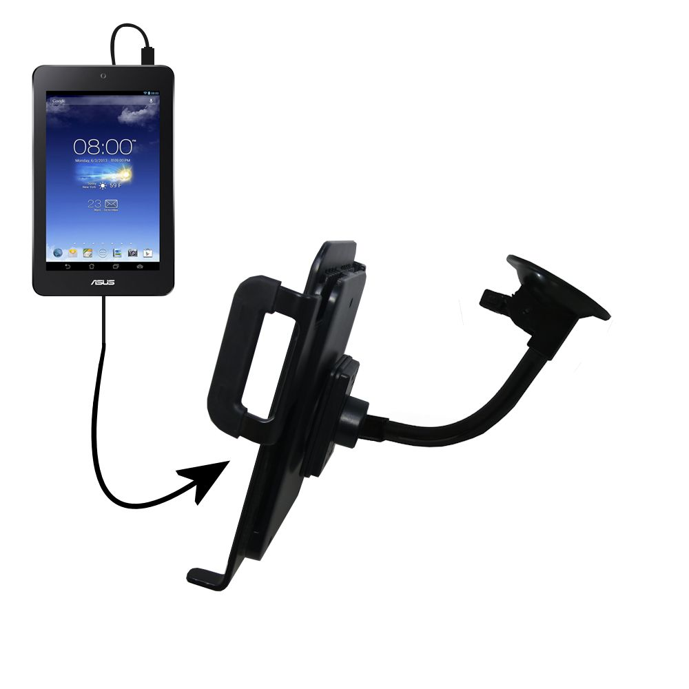 Unique Suction Cup Mount / Holder Stand designed for the Asus MeMO Pad HD7 Tablet