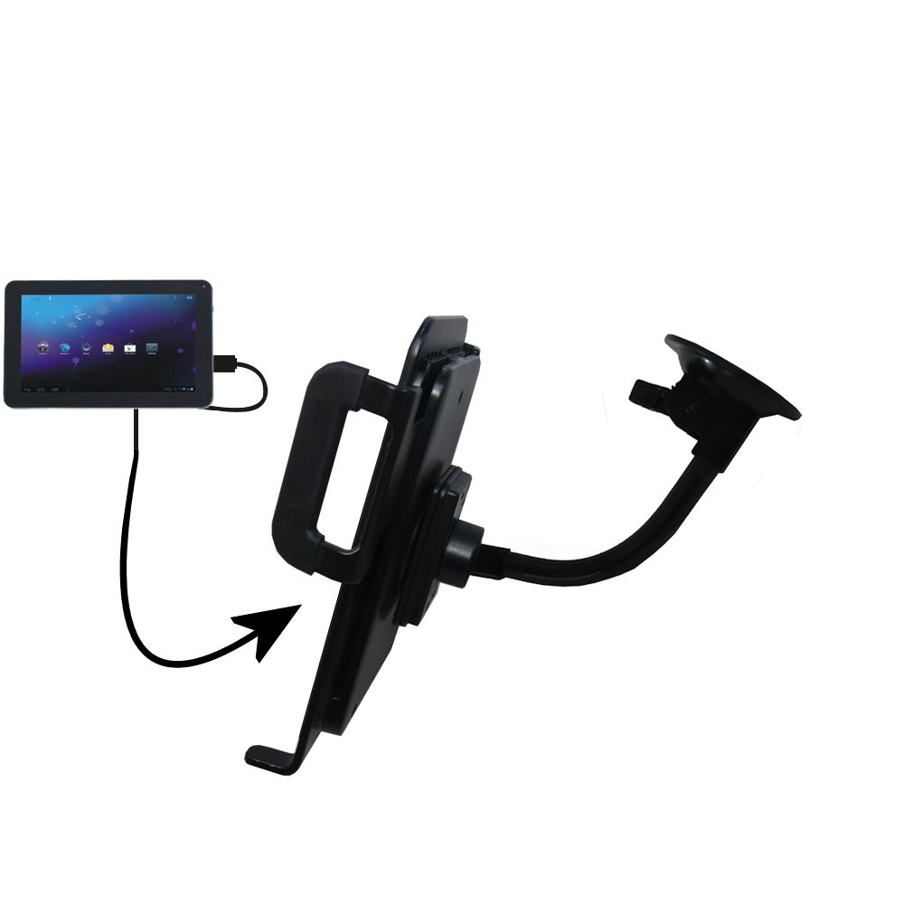 Unique Suction Cup Mount / Holder Stand designed for the Double Power DOPO M975 Tablet