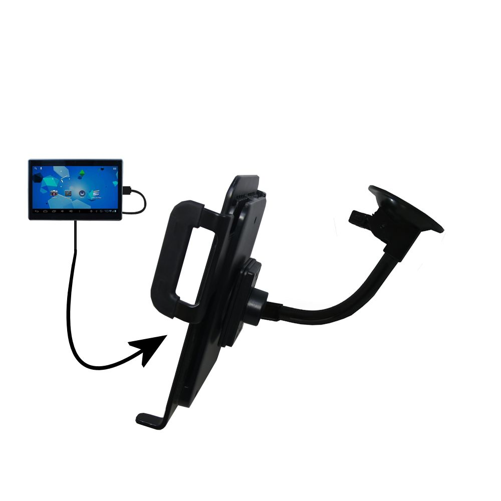 Unique Suction Cup Mount / Holder Stand designed for the Double Power DOPO Tablet TD-1010 Tablet