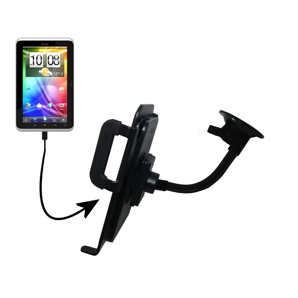 Unique Suction Cup Mount / Holder Stand designed for the HTC Flyer Tablet
