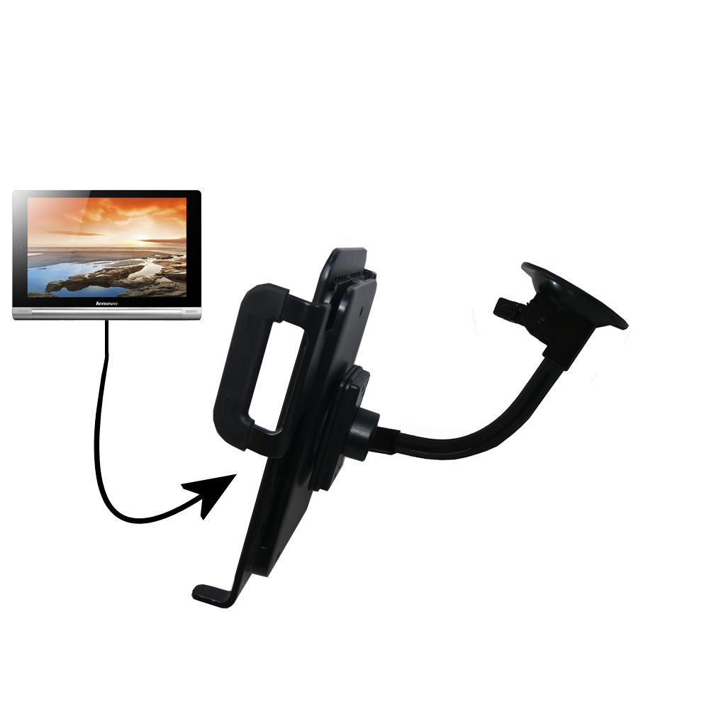 Unique Suction Cup Mount / Holder Stand designed for the Lenovo Yoga 8 / Yoga 10 Tablet