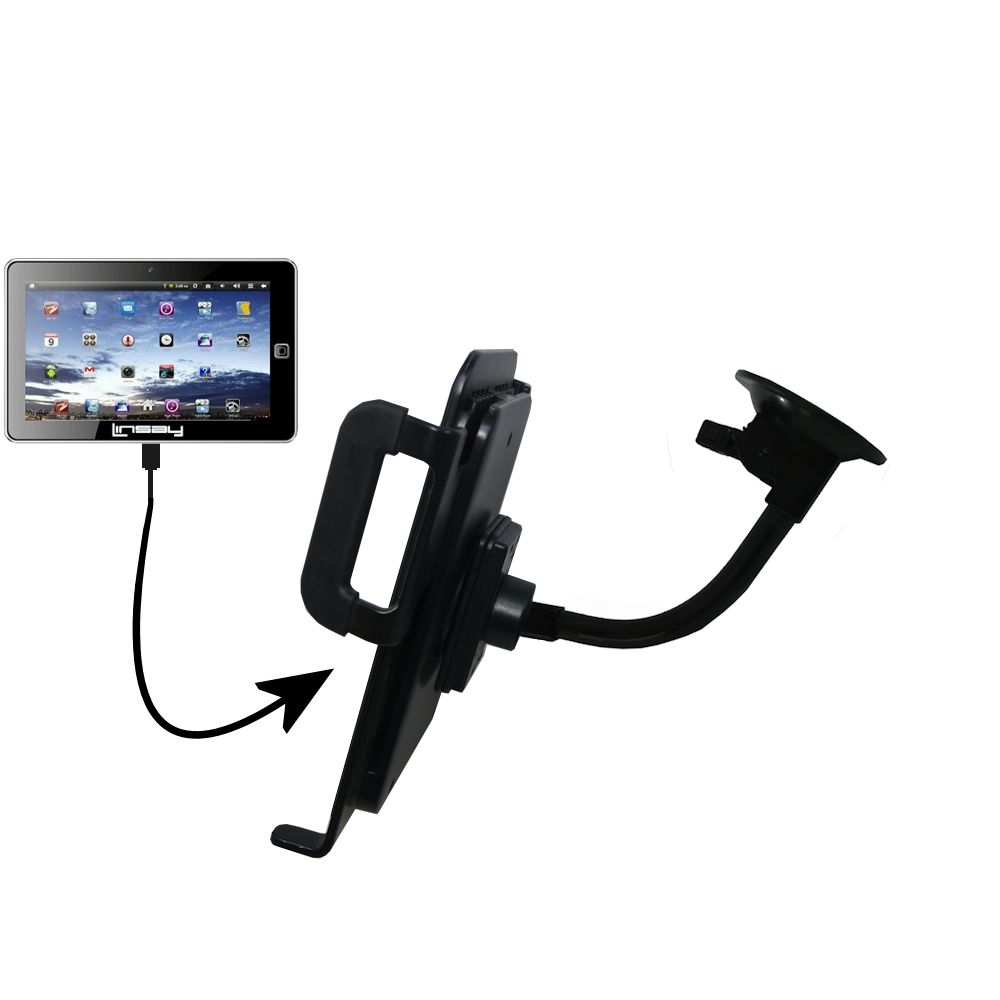 Unique Suction Cup Mount / Holder Stand designed for the Linsay Cosmos F-7HD F-10HD Tablet