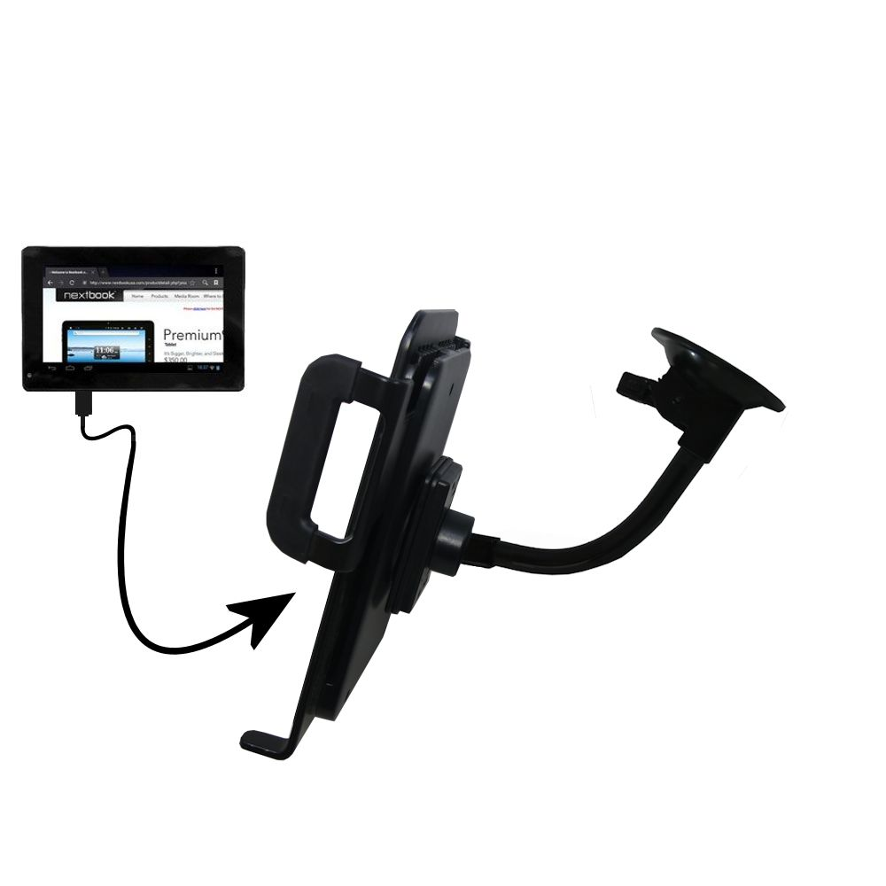 Unique Suction Cup Mount / Holder Stand designed for the Nextbook Premium 7SE Next7P12 Tablet