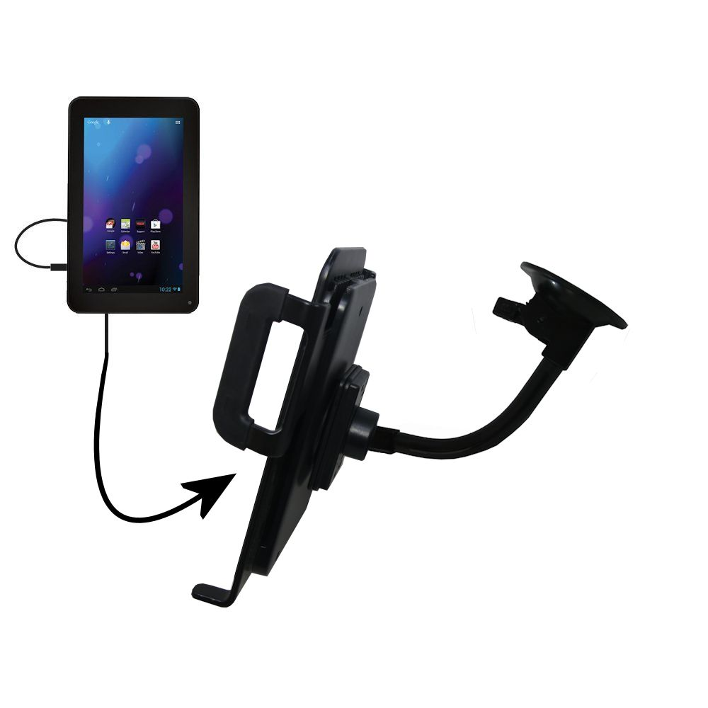 Unique Suction Cup Mount / Holder Stand designed for the RCA RCT6077W2 / RCT6077W22 Tablet