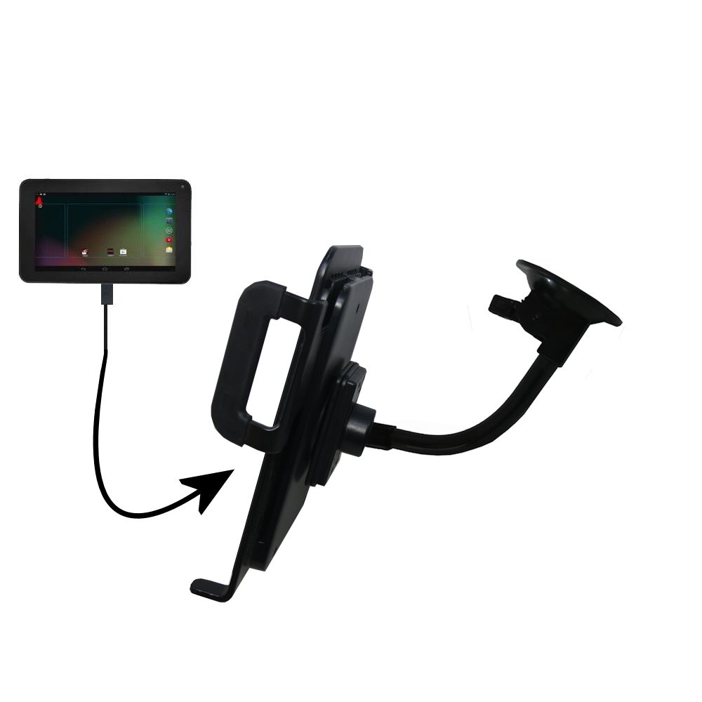 Unique Suction Cup Mount / Holder Stand designed for the RCA RCT6272W23 Tablet