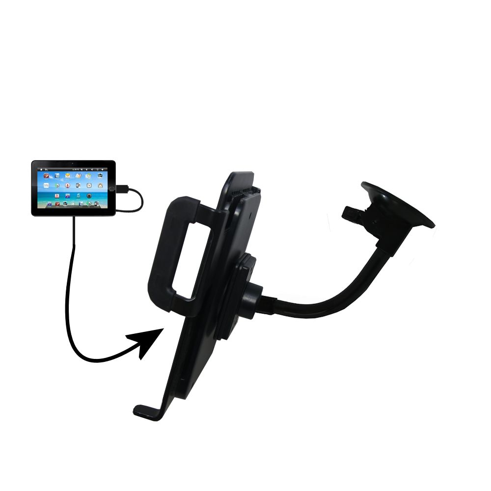 Unique Suction Cup Mount / Holder Stand designed for the Sylvania SYTAB10ST 10 inch Magni Tablet Tablet