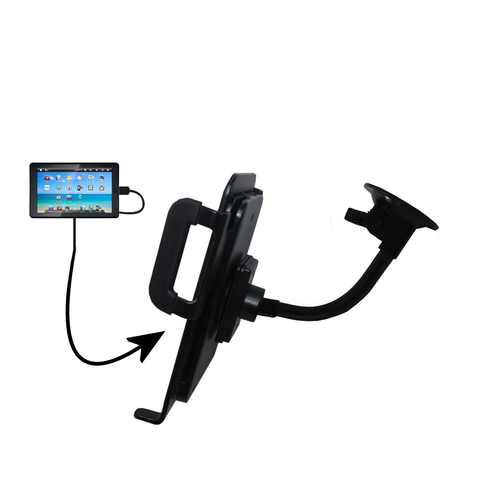 Unique Suction Cup Mount / Holder Stand designed for the Sylvania SYTAB7MX 7 inch Tablet Tablet