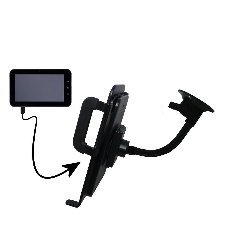 Gooseneck Holder Base with Suction Cup Mount compatible with Tursion 7 BOXCHIP MID TS-501 Tablet