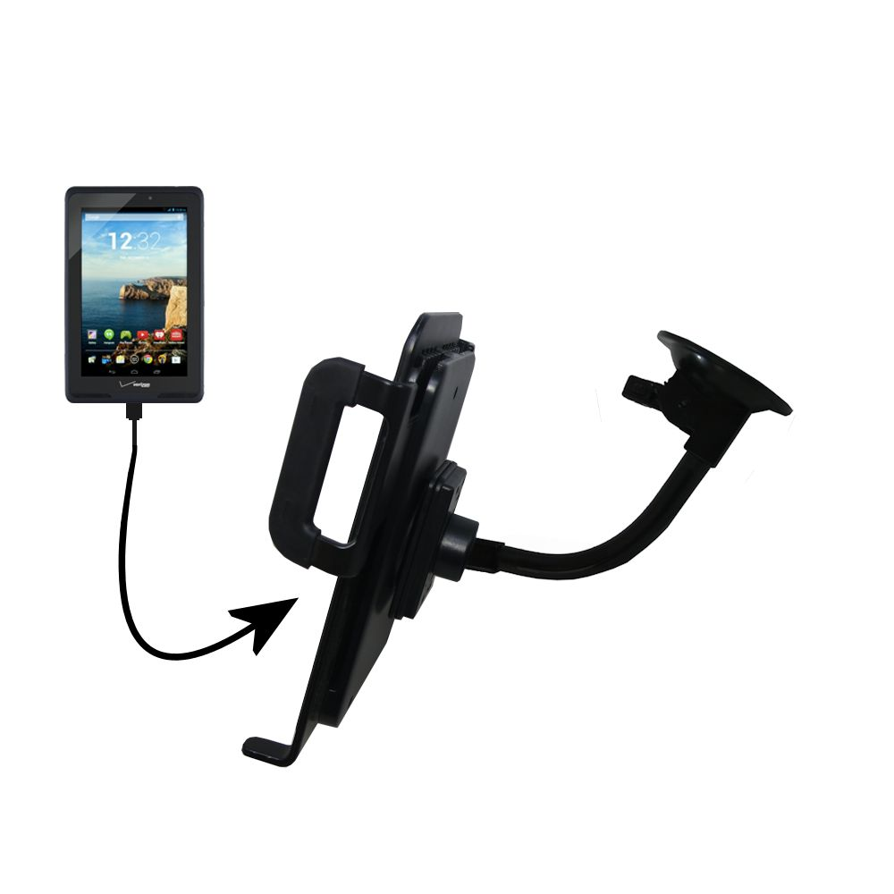 Unique Suction Cup Mount / Holder Stand designed for the Verizon Ellipsis 7 Tablet