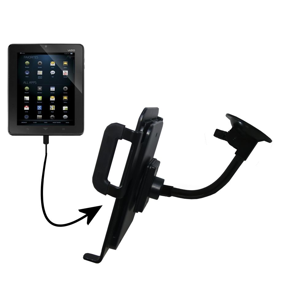 Unique Suction Cup Mount / Holder Stand designed for the Vizio Vizio 8 (VTAB1008) Tablet