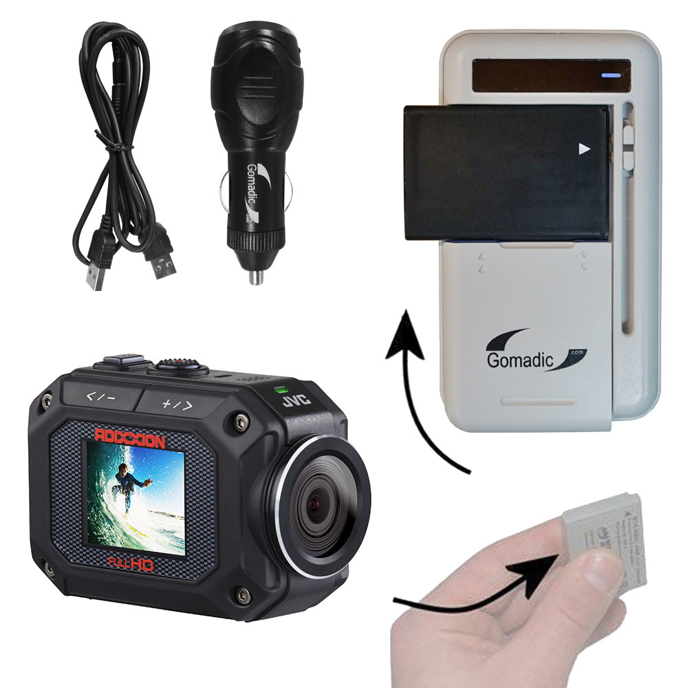 Lithium Battery Fast Charger compatible with the JVC GC-XA2 Action Camera