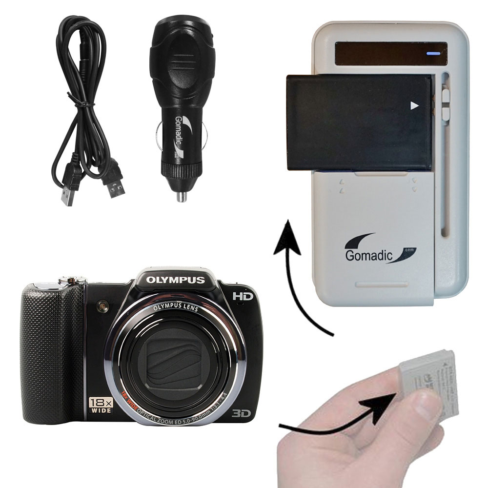 Gomadic Portable External Battery Charging Kit suitable for the Olympus SZ-10   Includes Wall; Car and USB Charge Options