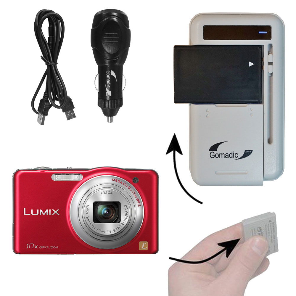Lithium Battery Fast Charger compatible with the Panasonic Lumix DMC-SZ1R