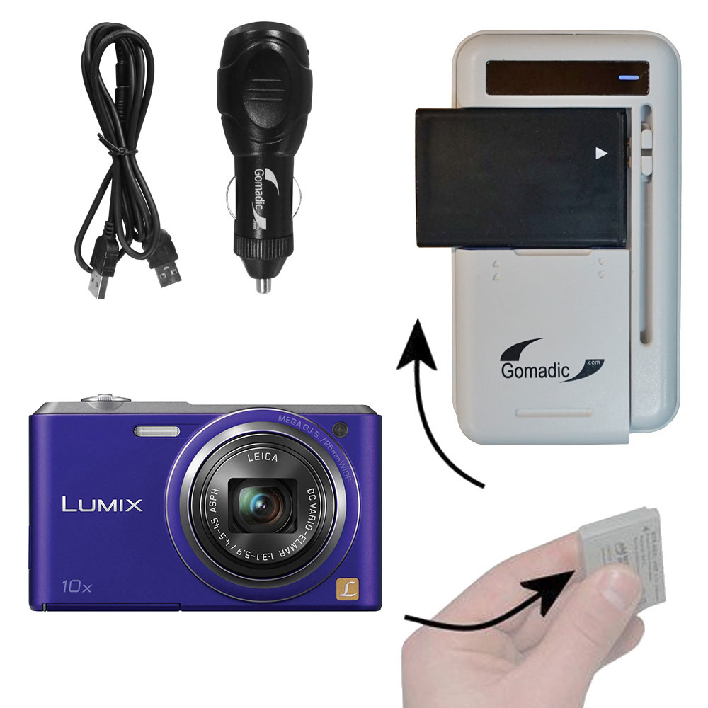 Lithium Battery Fast Charger compatible with the Panasonic Lumix DMC-SZ3V