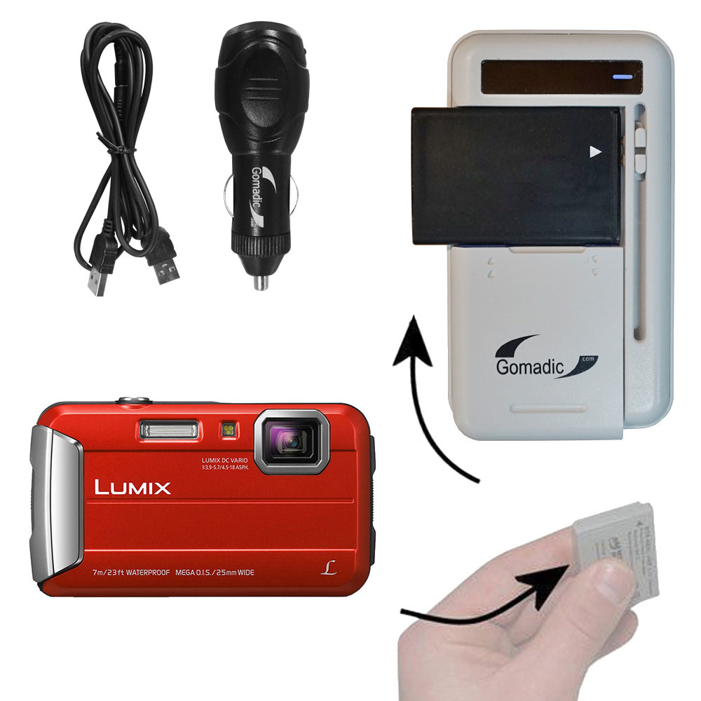 Lithium Battery Fast Charger compatible with the Panasonic Lumix DMC-TS25