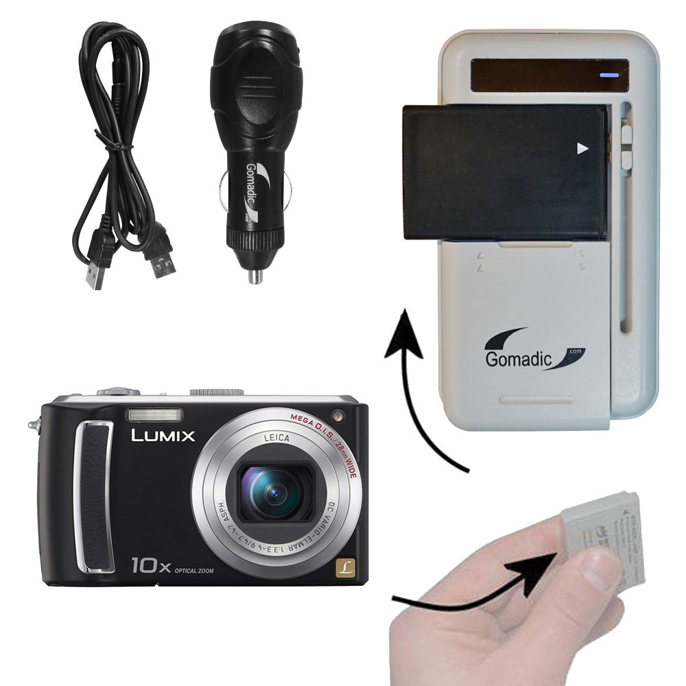 Lithium Battery Fast Charger compatible with the Panasonic Lumix DMC-TZ15
