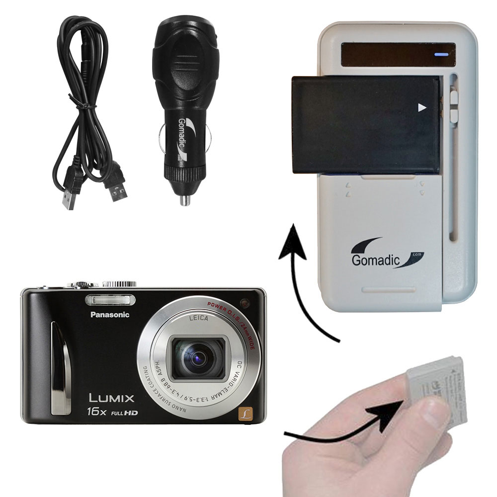 Lithium Battery Fast Charger compatible with the Panasonic Lumix DMC-ZS15S