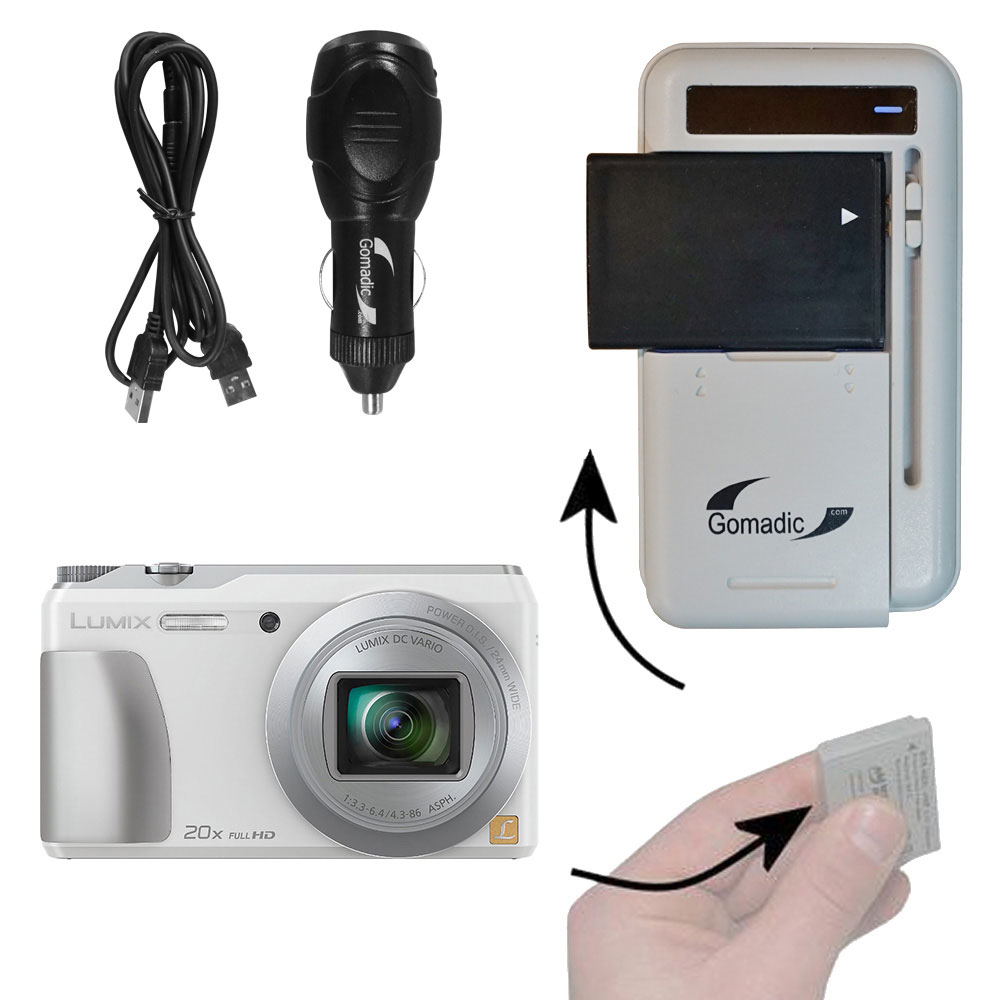 Lithium Battery Fast Charger compatible with the Panasonic Lumix DMC-ZS20W