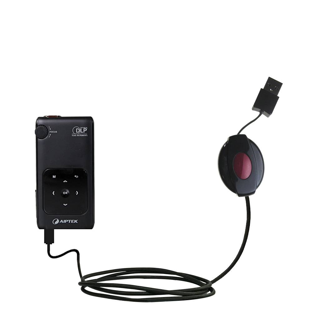 Retractable USB Power Port Ready charger cable designed for the Aiptek PocketCinema v50 and uses TipExchange