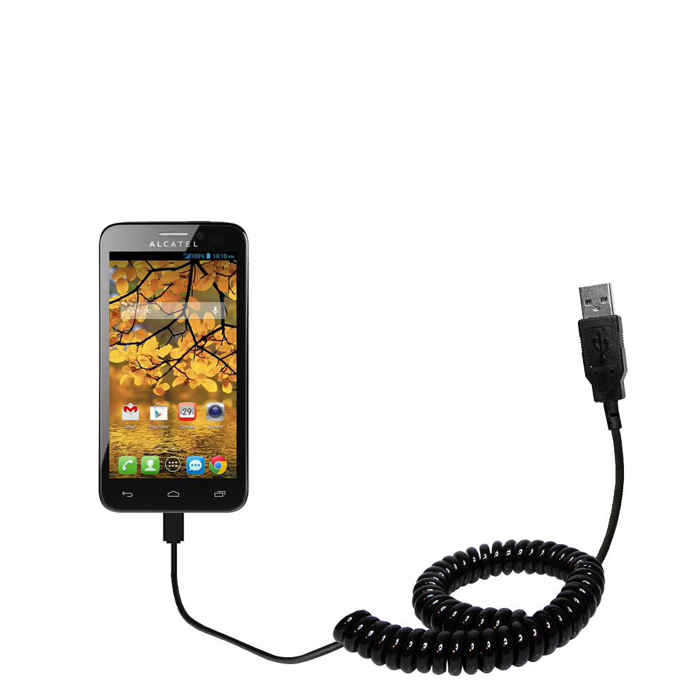 Coiled USB Cable compatible with the Alcatel One Touch Fierce
