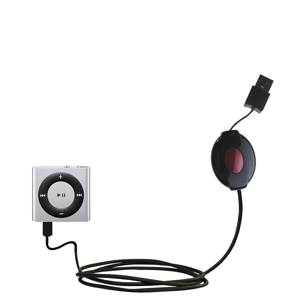 Retractable USB Power Port Ready charger cable designed for the Apple Shuffle and uses TipExchange