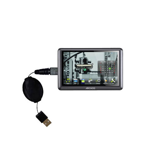 Retractable USB Power Port Ready charger cable designed for the Archos 50b Vision and uses TipExchange