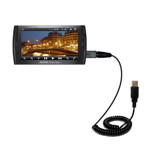 Coiled USB Cable compatible with the Archos 7 Home Tablet with Android
