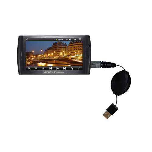 Retractable USB Power Port Ready charger cable designed for the Archos 7 Home Tablet with Android and uses TipExchange